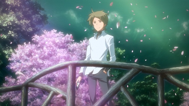 Ryouichi stands outside overlooking a balcony as sakura petals and aurora borealis fill the background