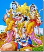 [Hanuman holding Lakshmana and Rama]