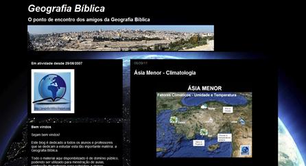 Screenshot da página inicial do blog Geografia Bíblica