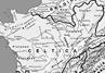 Un mapa de Galia donde pueden apreciarse todas las tribus y ciudades mencionadas en la Guerra de las Galias.