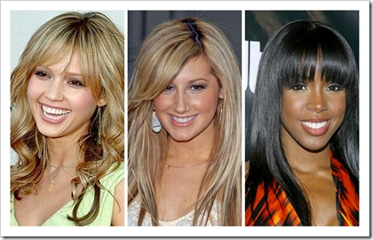Jessica Alba, Ashley Tisdale, Kelly Rowland Bangs Fringe Hairstyle Oval Face