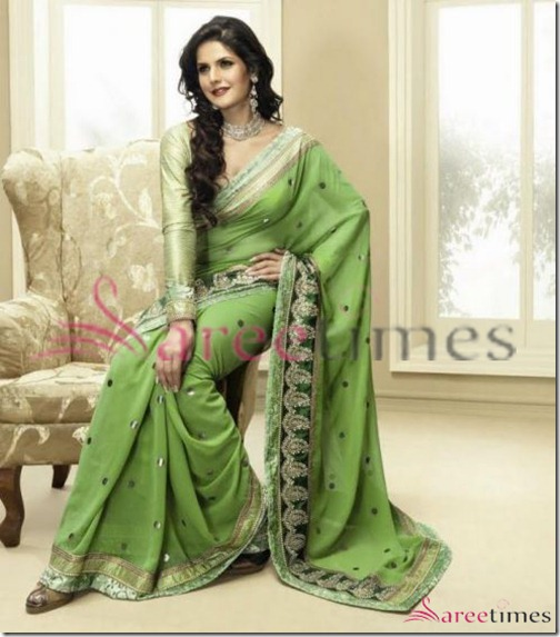 Zarine_Khan_Green_Saree