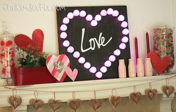 Valentine marquee light mantel