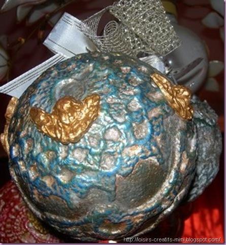 Noël, Powertex, boule polystyrène, dentelle, stone art, pigments, inca gold