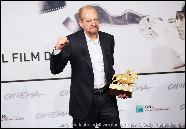 ROME, ITALY - NOVEMBER 17:  Director Larry Clark poses with his Golden Marc'Aurelio for Best Film druing the Award Winners Photocall during the 7th Rome Film Festival at Auditorium Parco Della Musica on November 17, 2012 in Rome, Italy.  (Photo by Ernesto Ruscio/Getty Images)