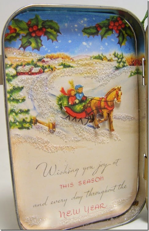 LeAnne Pugliese WeeInklings Left Inside Vintage Christmas Altoid Tin Altered Art Crafty Secrets 2014