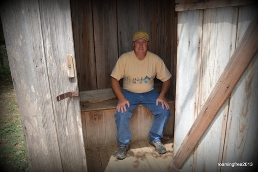 In the outhouse!