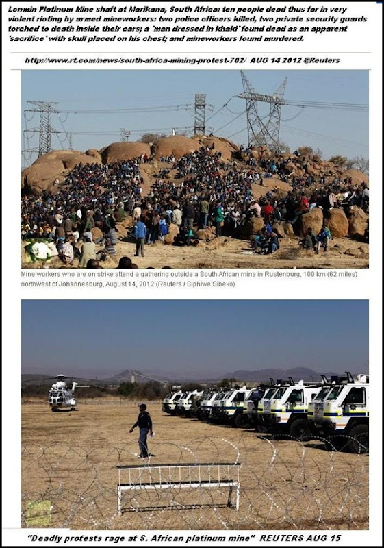 LONMIN MARIKANA MAY14 2012 man in khaki found as sacrifice near this crowd of miners