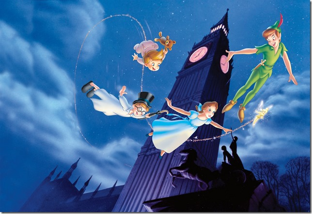 Peter Pan and the Darling children fly by Big Ben
