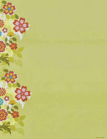 Floral on green spring flowers paper stock 2