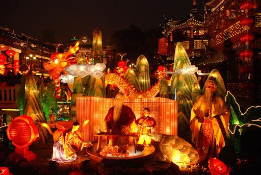 Shanghai Fête des Lanternes 2012 - Illuminations aux abords du Jardin Yu