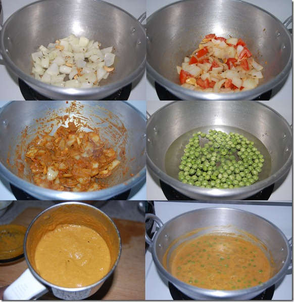 Green peas kurma process