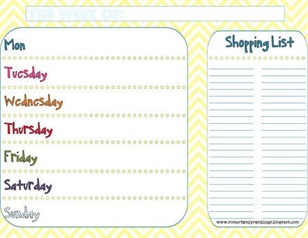 dinner menu planner with shopping list colorful with yellow