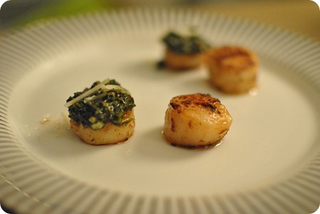 scallops with homemade pesto