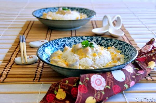 Cream Corn with Chicken Over Rice (忌廉粟米雞粒飯)   http://uTry.it
