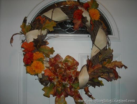 Fall wreath on front door 2012