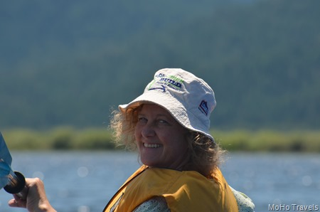 I think Deb likes the kayak, and she is wearing Bel's Habitat for Humanity hat.  Nice.