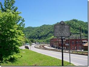 Hatfield-McCoy Feud marker along main road through Matewan, West Virginia