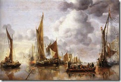 52263-Jan van de Capelle-The State Barge Saluted by the Home Fleet