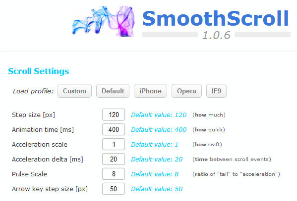 smooth scroll settings