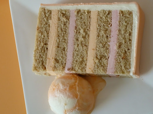 This cake was actually vegan, with orangeblossom icing between each layer. We thought it would pair perfectly with orange sherbet.