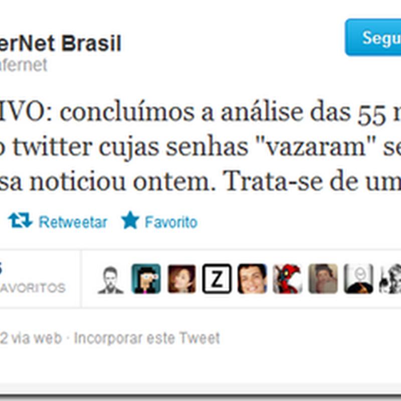 MENTIRA – vazaram 58mil senhas do Twitter