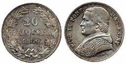 20 baiocchi argento Pio IX