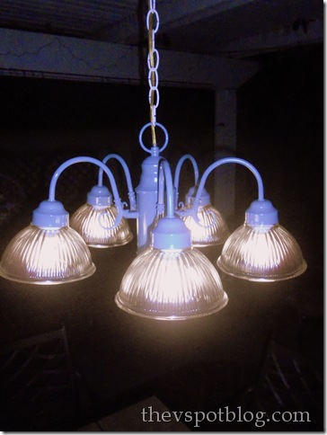 spray painted outdoor chandelier