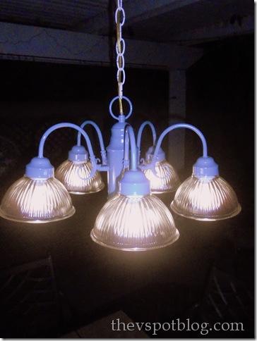 spray painted outdoor chandelier