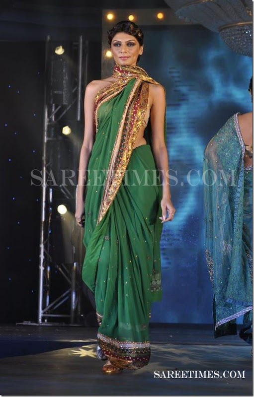 Green_Designer_Saree_Drape_Gitanjali_Fashion_Week