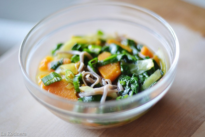... : Soba Noodles in Broth with Sweet Potato, Cabbage, and Spinach