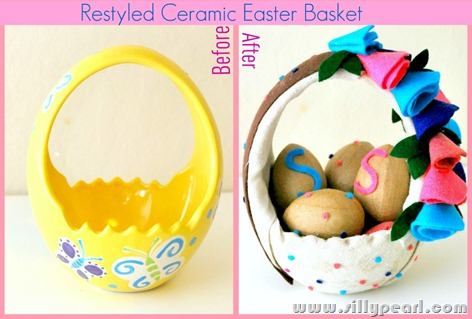 Restyled Ceramic Easter Basket Before After