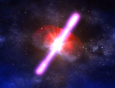 ilustração de uma erupção de raios gama