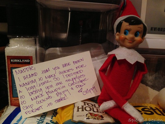 Elf on the Shelf with a recipe note