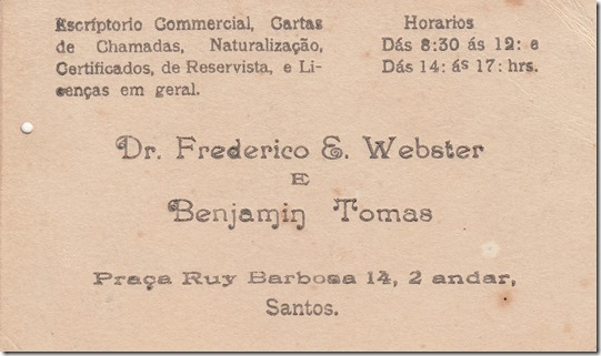 Frederick E. Webster Business Card