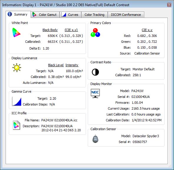 Eizo EX1 (Datacolor Spyder 3) SpectraView II Information Summary