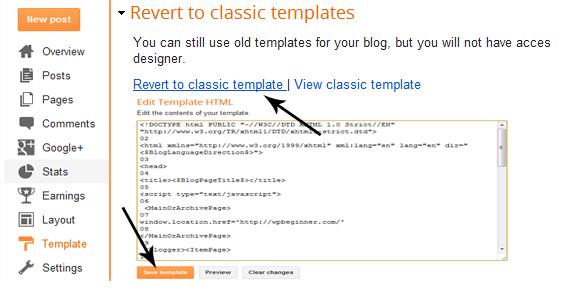 revert to classic templates