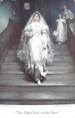 Vintage postcard The old clock on the stairs woman white gown