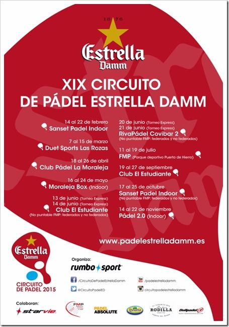 Ya está aquí la nueva edición del Circuito de Pádel Estrella Damm. Calendario oficial 2015.