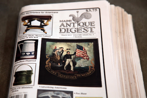 Oh Sharkey, it's the new issue of the Maine Antique Digest.  Martha loves it and always reads it from cover to cover!  I was leafing through it and found an interesting article.