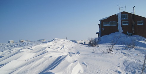 Sastrugi snow-drifts by Helmericks house on Colville