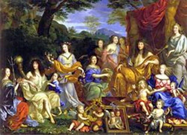 La familia de Luis XIV donde aparece como Apolo, por Jean Nocret.
