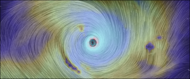 The eye of Category 5 Cyclone Pam hovers over the Pacific island nation of Vanuatu, 13 March 2015. Graphic: EarthWindMap / earth.nullschool.net