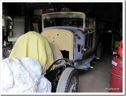 A 1936 Chrysler under restoration.