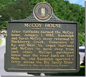 McCoy House marker 2145 in Pikeville, Kentucky at Main Street.