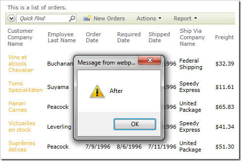 Alert displaying 'After' when the select command has been completed.