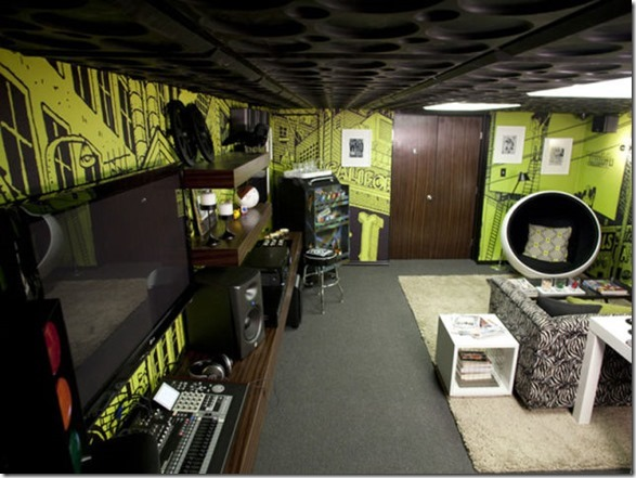 Food Network's Ace of Cakes host Duff Goldman's completed man cave, as seen on DIY Network's Man Caves.
