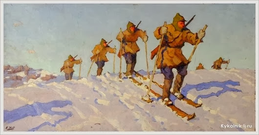 Жаба Альфонс Константинович (Россия, 1878-1942) «Лыжники» 1935
