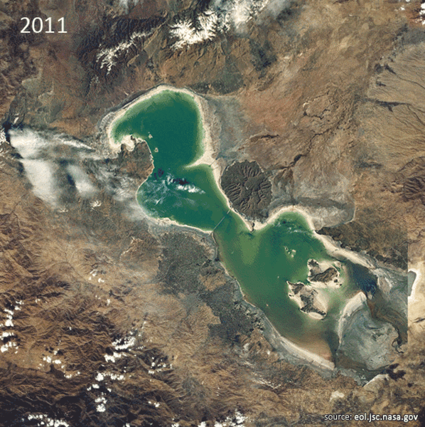Satellite imagery of lake Orumiyeh (Oroumieh, Urmiah) in 2011, showing great amount of drainage and surface area loss compared with a similar image from 1984, 6 September 2011. Photo: NASA