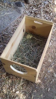 Owl box with entrance hole and straw bed